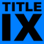 Title IX in black lettering on blue background